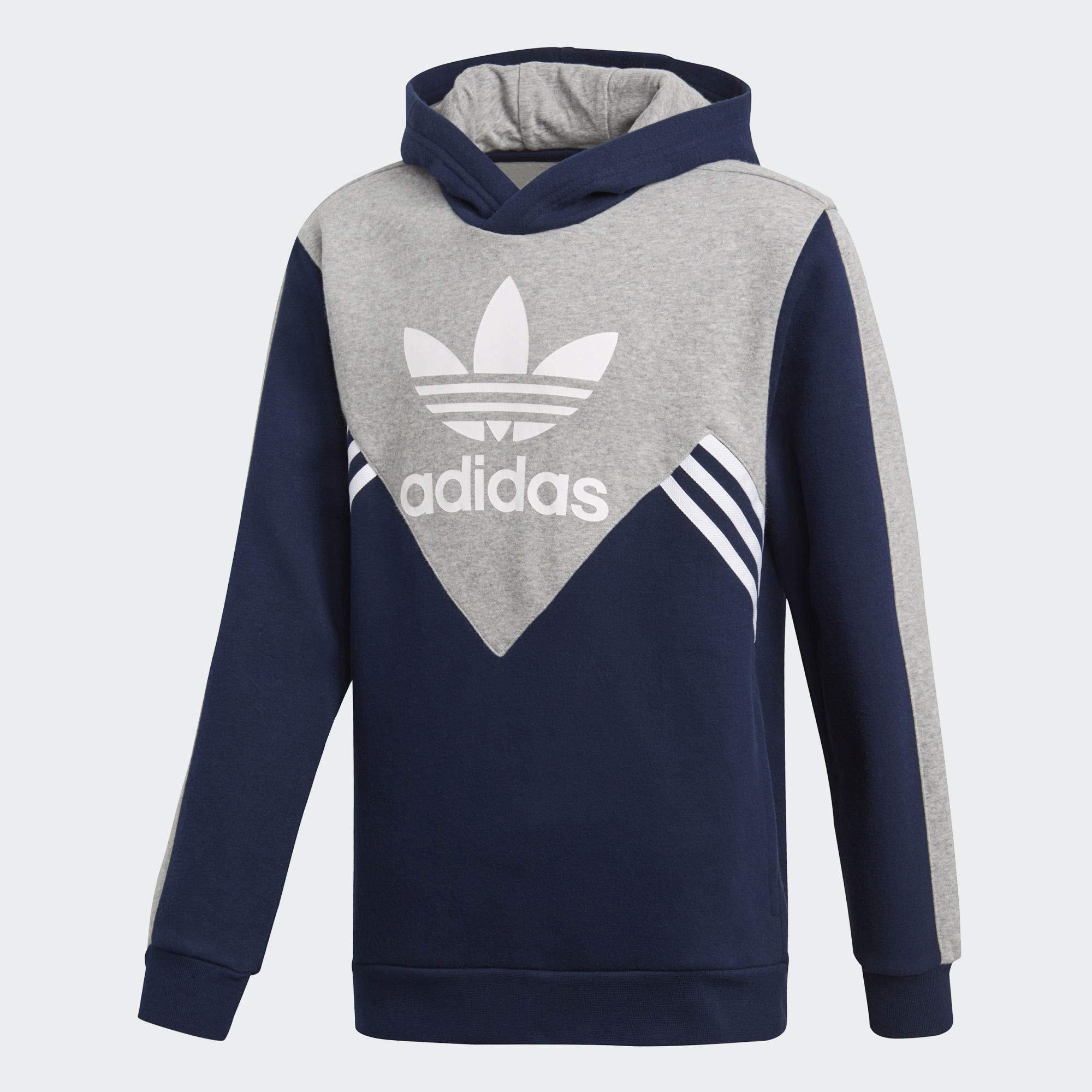 sale retailer efa90 e1523 Galleon - Adidas Originals Kids Boy s Zigzag Trefoil Hoodie (Little  Kids Big Kids) Collegiate Navy Medium Grey Heather White Small