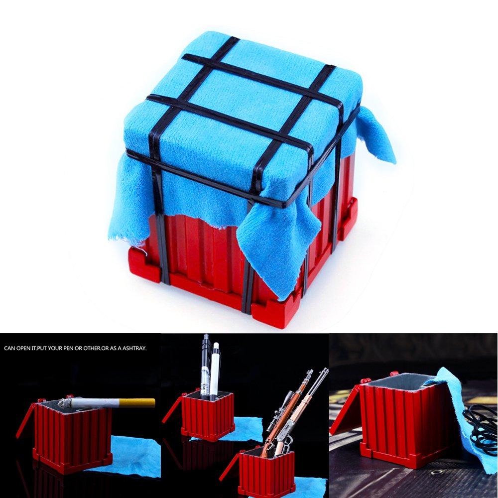 Bo/îte De Rangement Multi-Fonctionnelle Sac /À Dos Porte-cl/és Porte-cl/és Manger Jeu De Poulet Collection Cendrier en M/étal Crayon Conteneur Alliage Dornements Konesky PUBG Drop Air Box