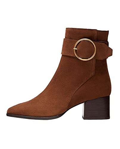 d241ea93efab Massimo Dutti Women's Brown Suede Ankle Boots with Buckle 1155/021 (2 ...