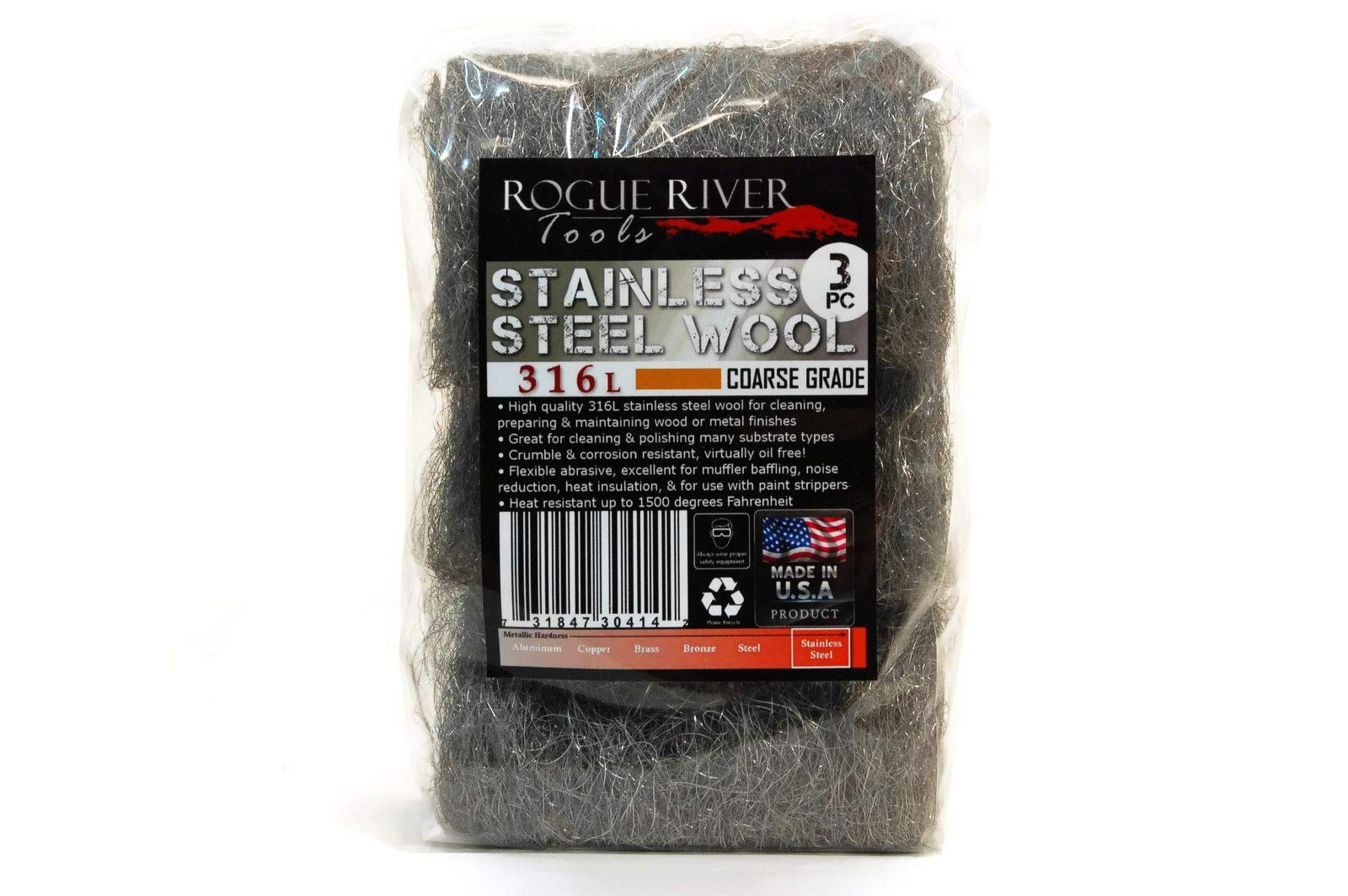 Rogue River Tools (3 Pack) 316L Coarse Food Grade Stainless Steel Wool Pads by Rogue River Tools