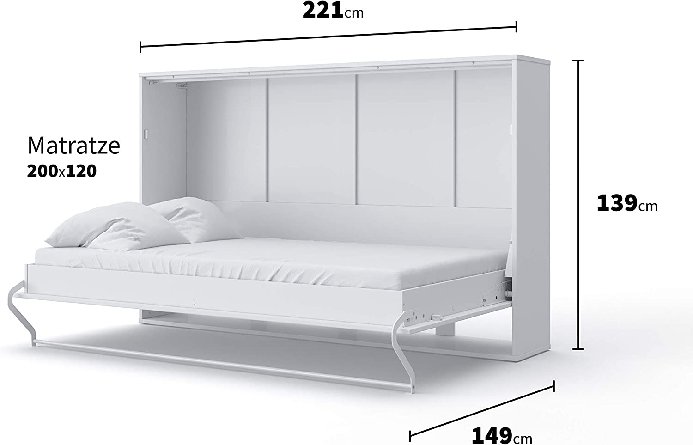 Invento Armario cama plegable de pared horizontal con cama ...