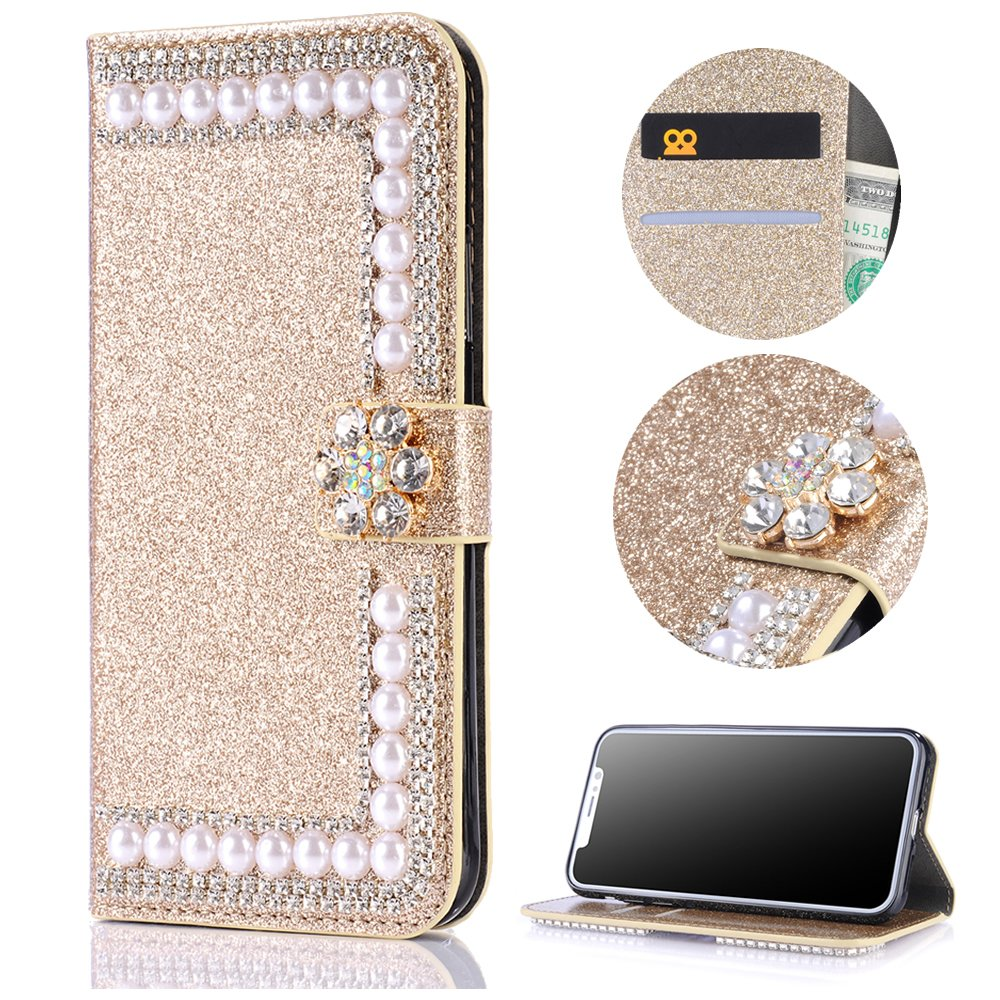 Stysen Wallet Case for Huawei Mate 10 Lite,Shiny Pearl Pattern Gold Bookstyle with Strass Flower Buckle Protective Wallet Case Cover for Huawei Mate 10 Lite-Flower,Gold