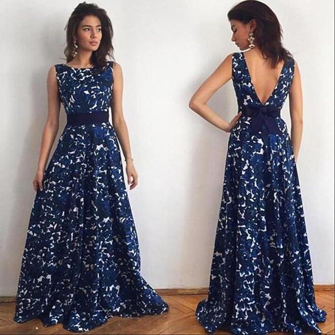 Las mujeres vestidos, sexy mujeres floral largo formal Prom Vestido Fiesta Noche Boda Vestido de novia (, M, azul, 1: Amazon.es: Ropa y accesorios