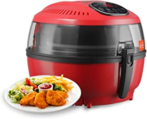 LCD Display Digital Electric Air Fryer Calorie Reducer Oil-Less Griller 10QT - Red Color