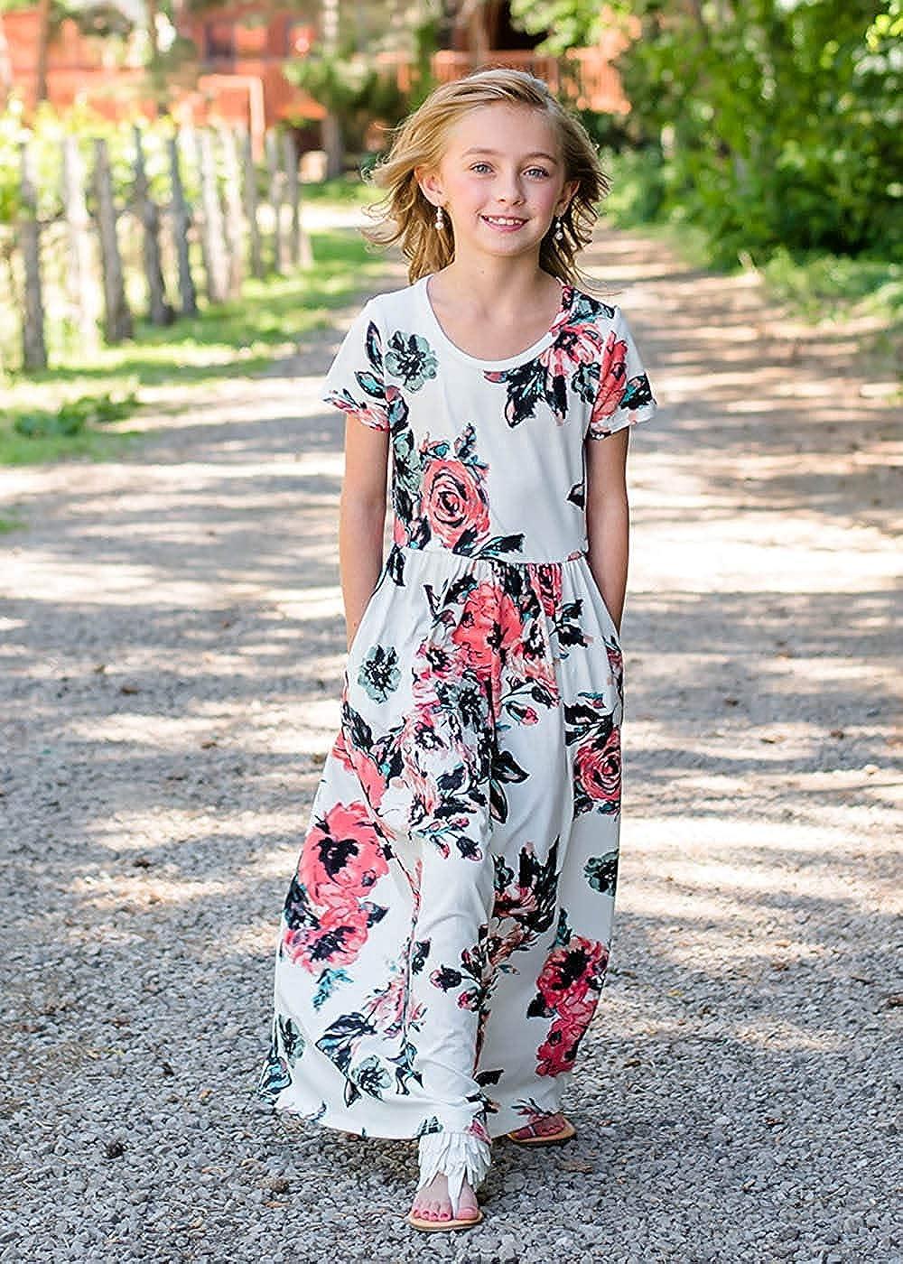 21KIDS Girls Floral Maxi Dress Casual 3//4 Sleeve T Shirt Dresses Pocket