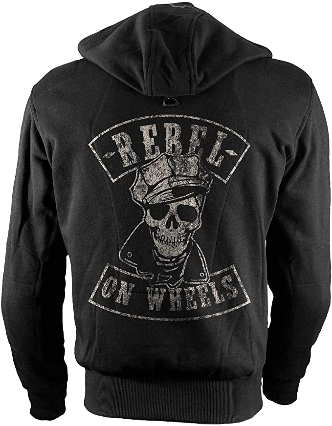 Rebel On Wheels Biker Hoodie Motorrad Hoodie Aramid Brando Skull Schwarz Kapuzen Jacke Motorrad L Auto