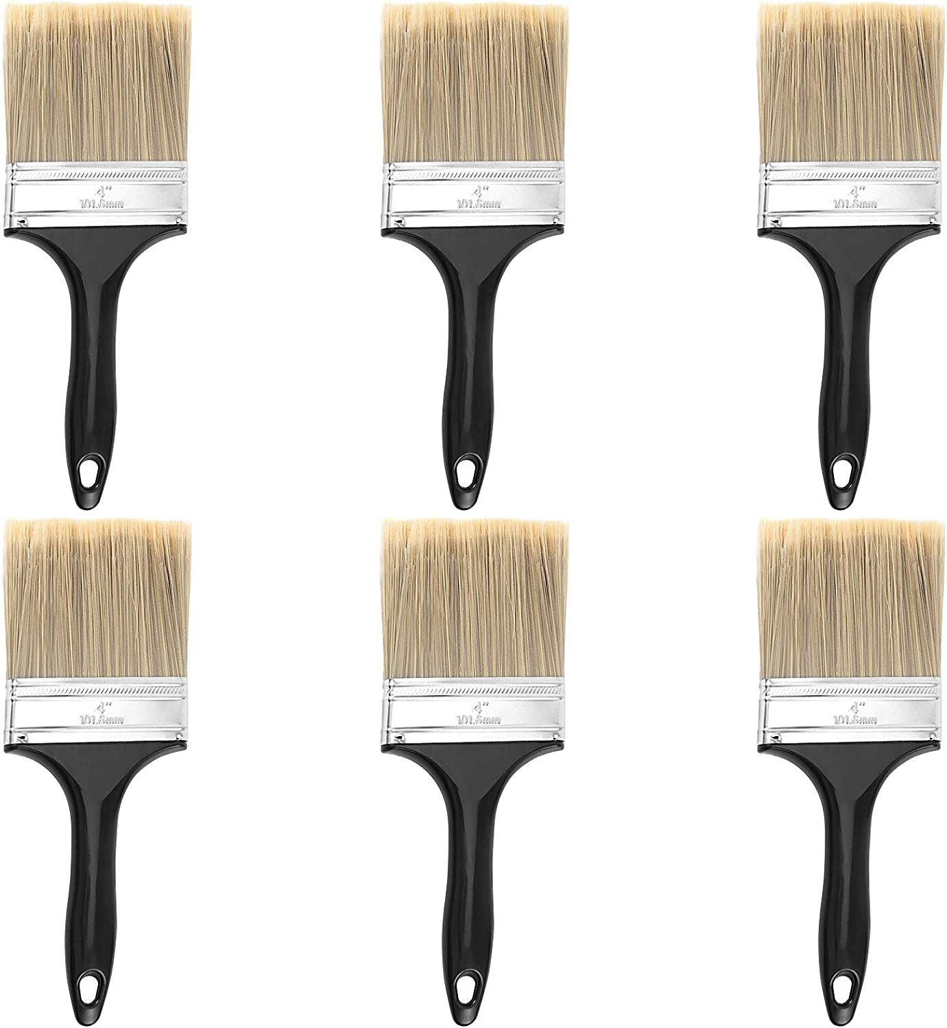 ZEONHEI 6 Ea 4-inch Pro Grade Paint Brushes, Home Wall Trim House Paintbrush Set, Cheap Paint Tools Paint Brushes Set with Treated Plastic Handle