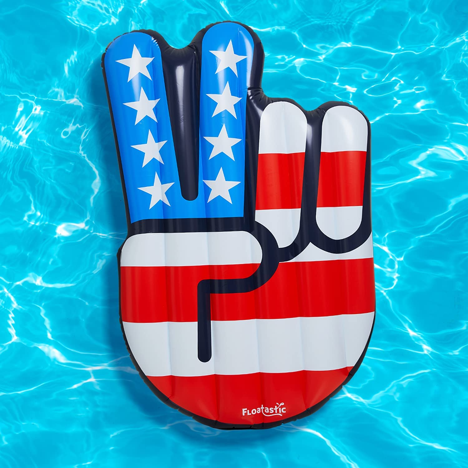 Floatastic USA Peace Inflatable Pool Float - Giant Pool Floats Adult Size - Ultimate Lounger Raft for Pool Party & Beach - American Flag Pool Toy Floaties for Fun, Style & Comfort