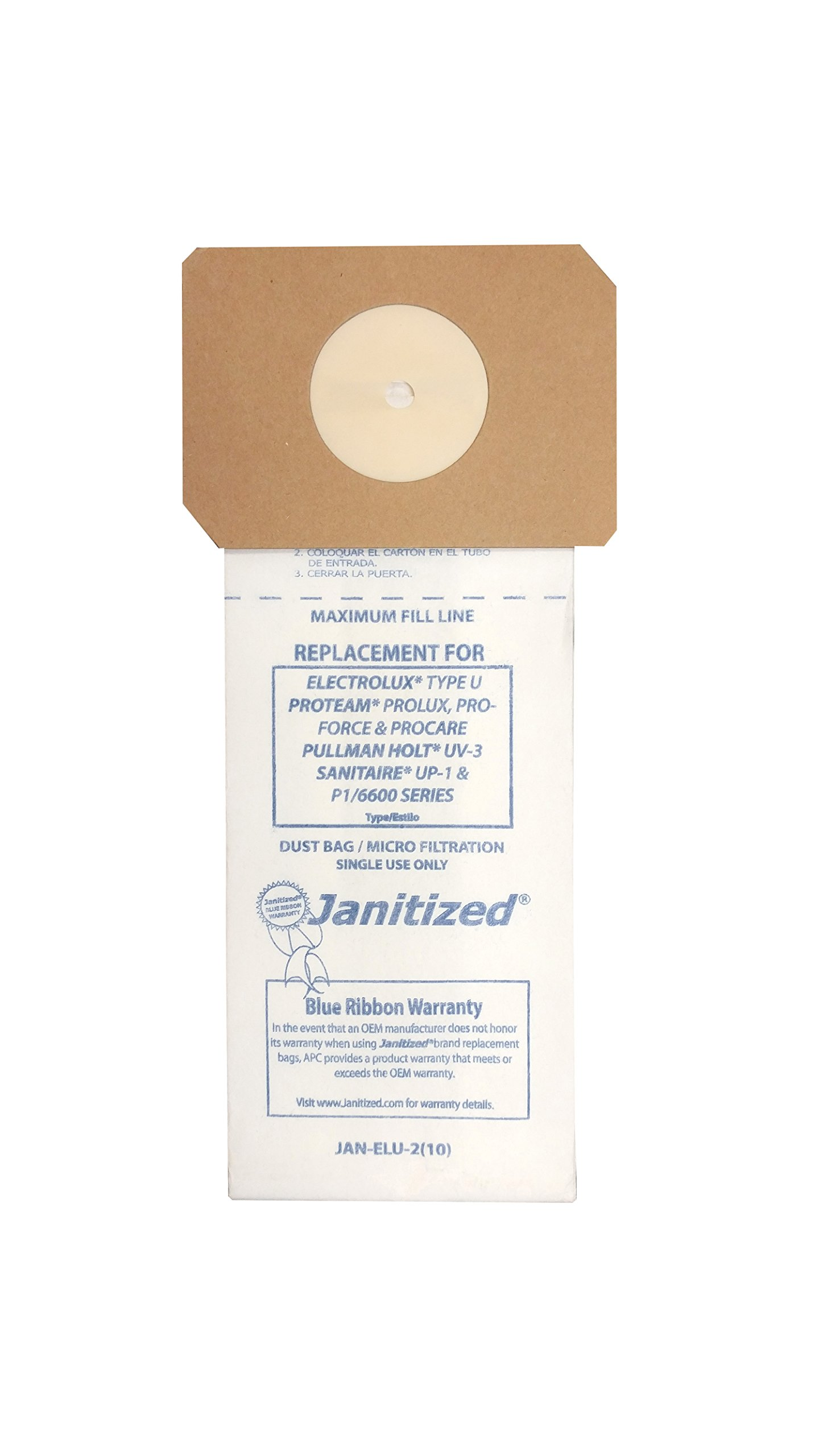 Janitized JAN-ELU-2(10) Premium Replacement Commercial Vacuum Paper Bag, Electrolux U, Sanitaire UP-1, ProTeam ProLux, Proforce, Pullman Holt UV-3, OEM#248, 62100, 103483, 103484, 527042 (Pack of 10)