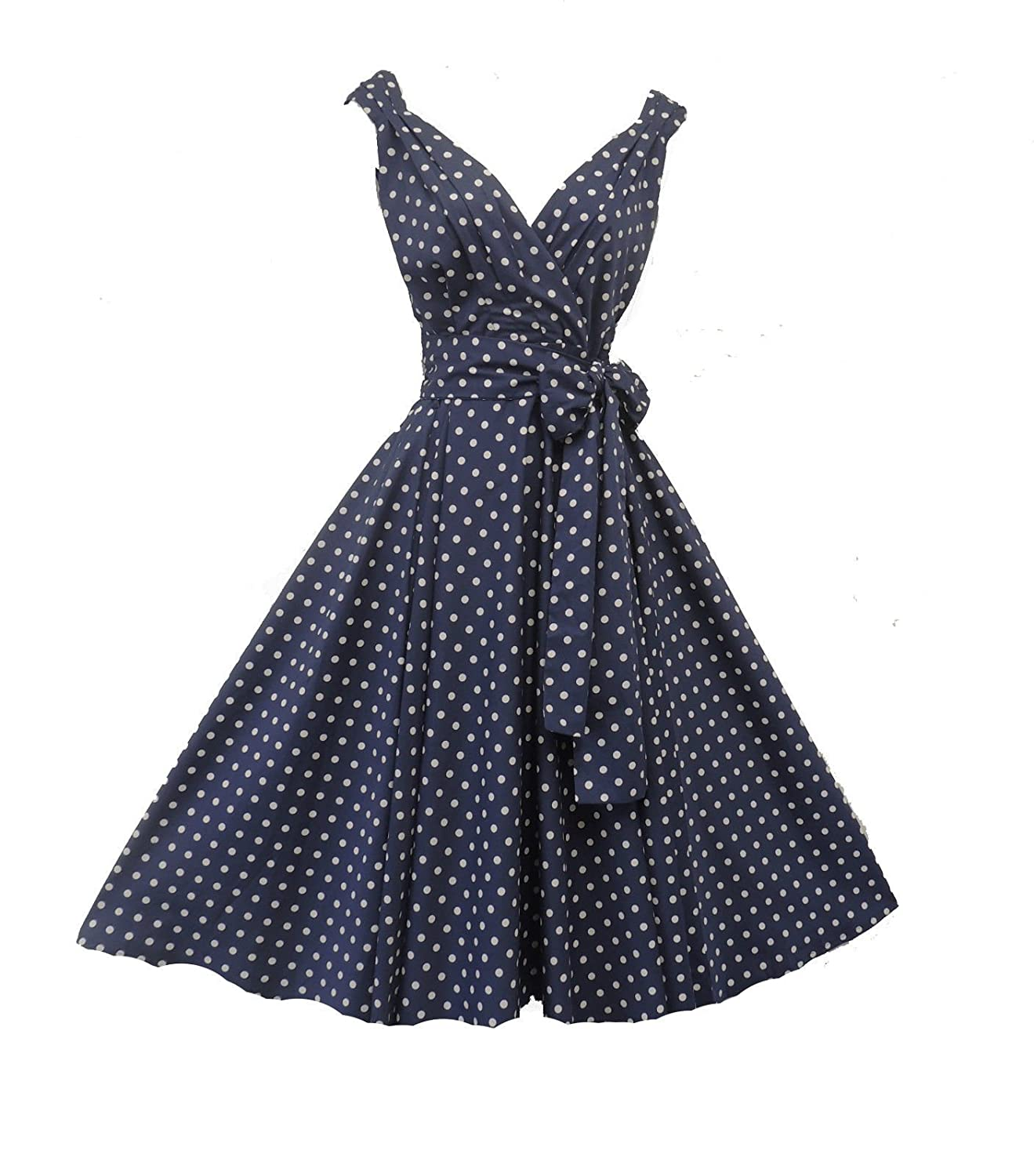 bea97f69c0fe New Rosa Rosa Vintage 1950s style Navy Polka Dot Summer Party Prom Swing  dress  Rosa Rosa  Amazon.co.uk  Clothing