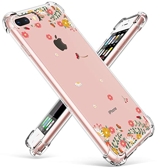sneakers for cheap 87ab0 77aec GVIEWIN Clear Case for iPhone 8 Plus/7 Plus, Flower Pattern Design Flexible  TPU Ultra-Thin Shockproof Transparent Floral Cover, Cases for iPhone 7 ...