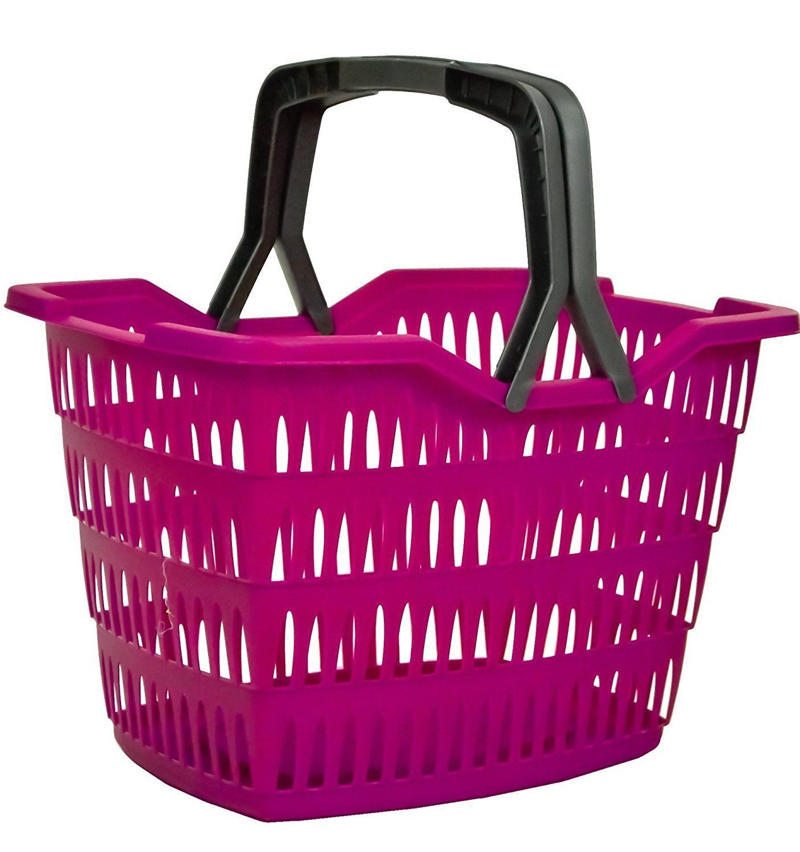 Mauve Plastic 23Lt Shopping Storage Basket Shopper with Folding Handles