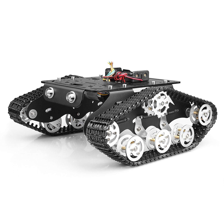 TSSS Intelligente Roboter Car Tank Aluminium-Legierung Plattform Auto mit Dämpfung-Effekt System mit leistungsfähigem Doppel-DC 9V Motor für Arduino Raspberry Pi DIY Set 20 m / min Belastung 3kg