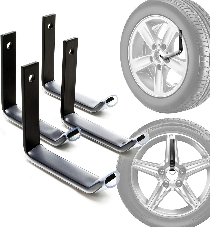 FIXKIT Set di 4 Supporti in Acciaio Inox per Montaggio a Parete di Ruote e Pneumatici per Auto Portata Fino a 50KG 35CM