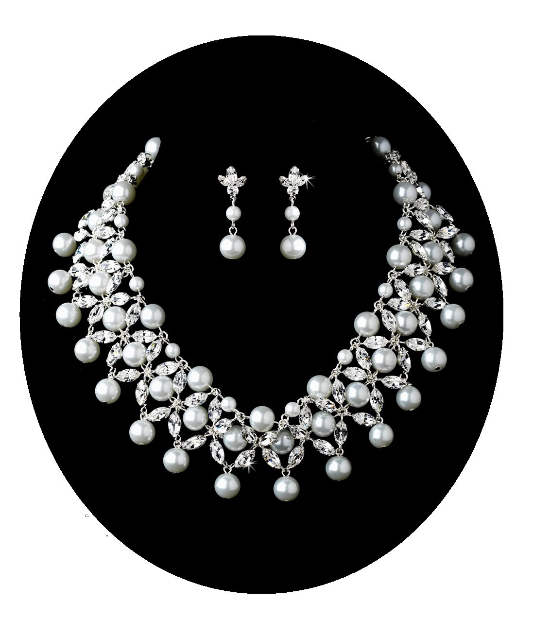 White Pearl Collar Necklace Set Silver Statement Fashion Jewelry (#8)