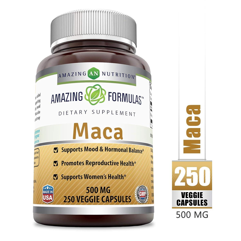 Amazing Formulas Maca - 500 Mg Veggie Capsules (Non-GMO) - Supports Mood &  Hormonal