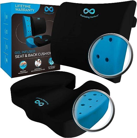 Everlasting Comfort Memory Foam Seat Cushion - Best For Lower Back