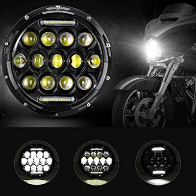 IRONWALLS 1pcs DOT Approved 7\'\' inch LED Headlight Bulbs Headlamps Round Black For Harley Davidson Motorcycle Jeep Wrangler JK TJ LJ Land Rover Hummer: Automotive [5Bkhe0406871]