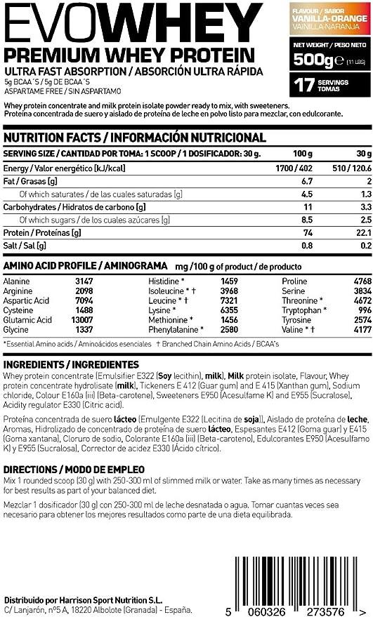 HSN Sports Evowhey Proteína Concentrada de Suero Sabor Vainilla - Naranja - 500 gr