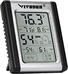 VIVOSUN Digital Indoor Thermometer & Hygrometer with Humidity Guage (1 Pack), Accurate Temperature Humidity Monitor Meter for Home, Office, Greenhouse, Indoor Garden (Button Battery Included)
