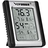 VIVOSUN Digital Indoor Thermometer & Hygrometer with Humidity Guage (1 Pack), Accurate Temperature Humidity Monitor…