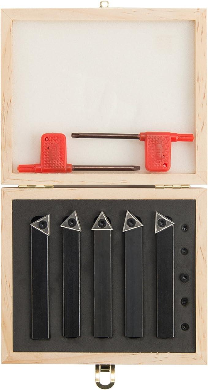 Turning Tooling Bit Holder Set 5Pc 1//2Inch Lathe Tool Indexable Carbide Insert