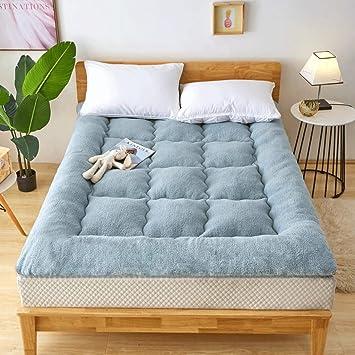 LJ Tatami Colchón Engrosamiento Cálido Tres Segundos Cama Doble Caliente para Dormir Habitación matrimonial Sala de Estar Hotel Bed Was (Color : Gray, ...