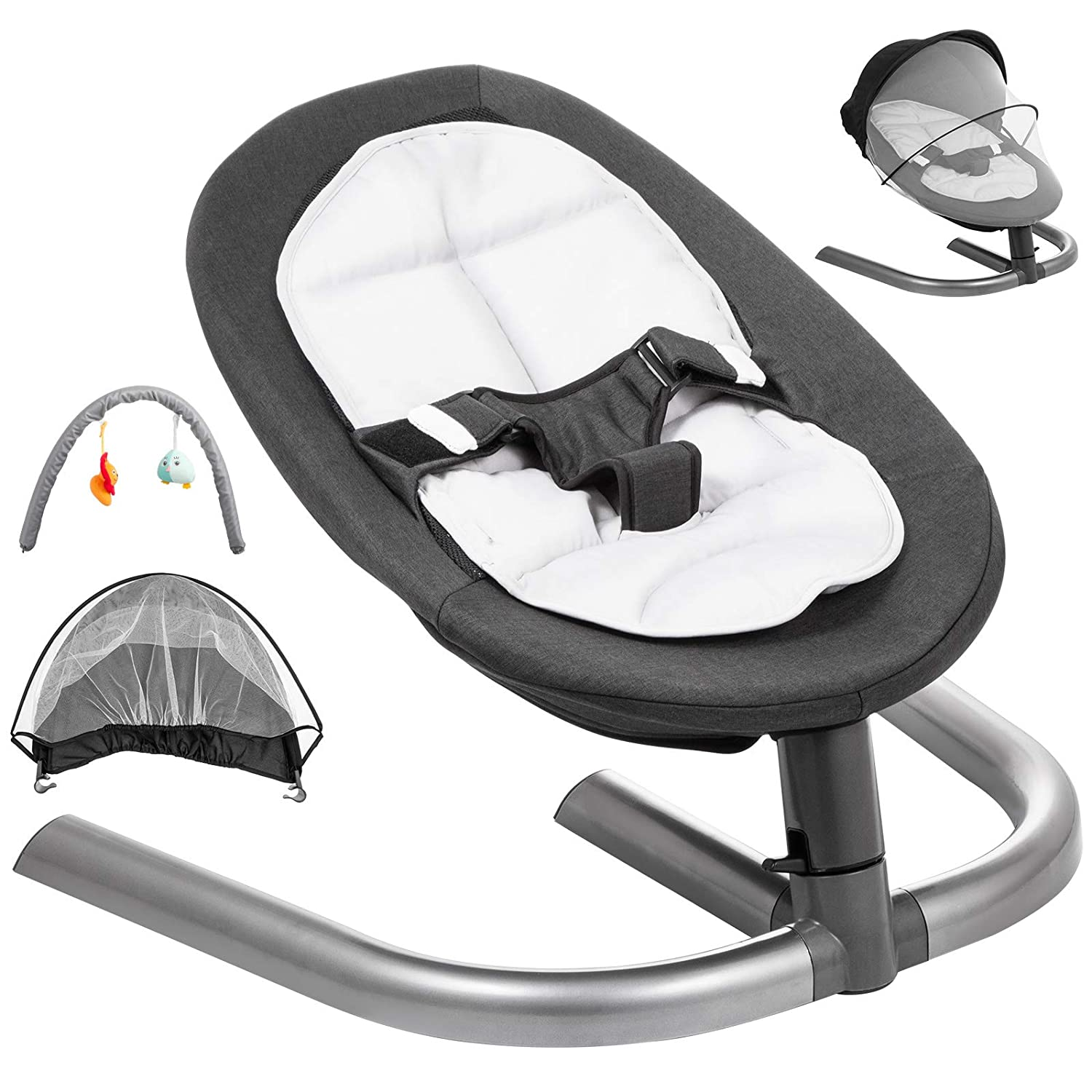 Gray Happybuy Baby Swing Chair for Newborn Toddler Kids from Ages 0 to 5 Bouncer Infant Comfort Swing Chair Soft Toddler Cradle Seat Baby Rocker Plush Rocking