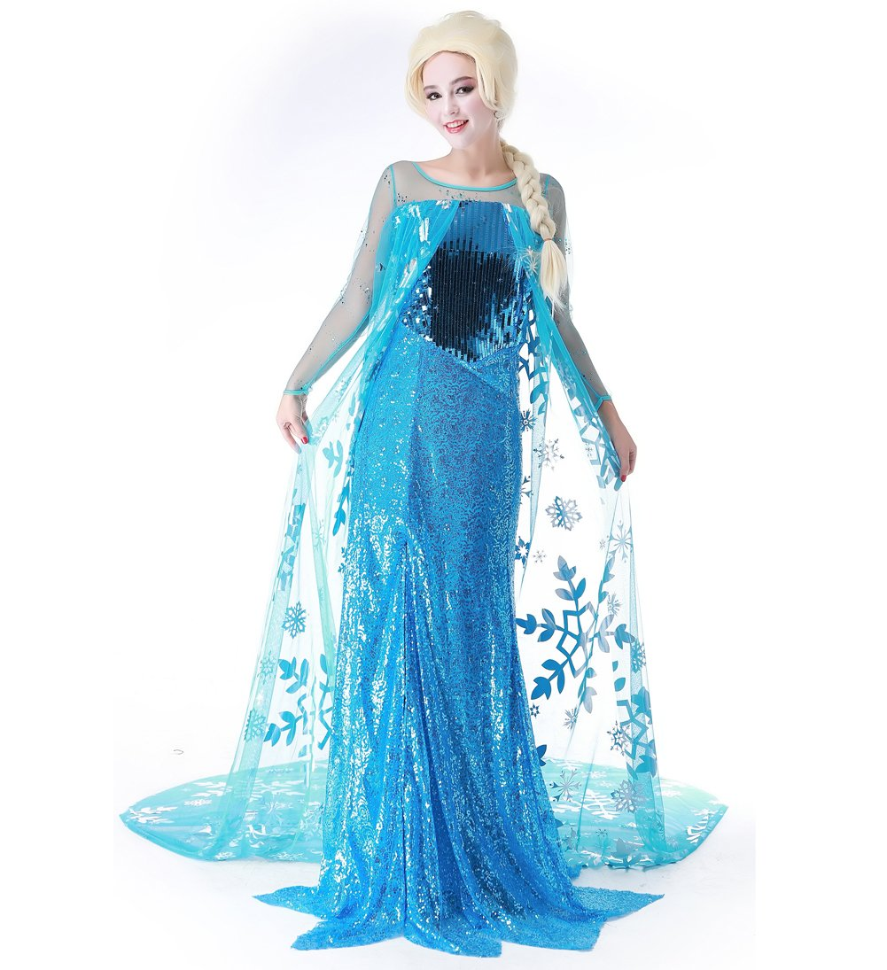 Women's Snow Queen Elsa Dress Blue Christmas Costume With Wig,Medium by Blugibedramsh (Image #1)