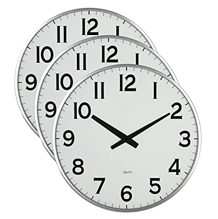 Lulu Decor, 18 Silver Slim Large Wall Clock, Round Modern Sleek Design only 0.75 Thick, Large Wall Clock Battery Operated Pack of 3