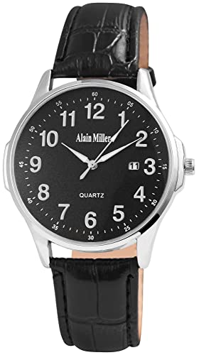 Alain Miller - Reloj de Pulsera analógico para Hombre (Correa de Piel y Mecanismo de Cuarzo), Color Negro y Plateado: Amazon.es: Relojes
