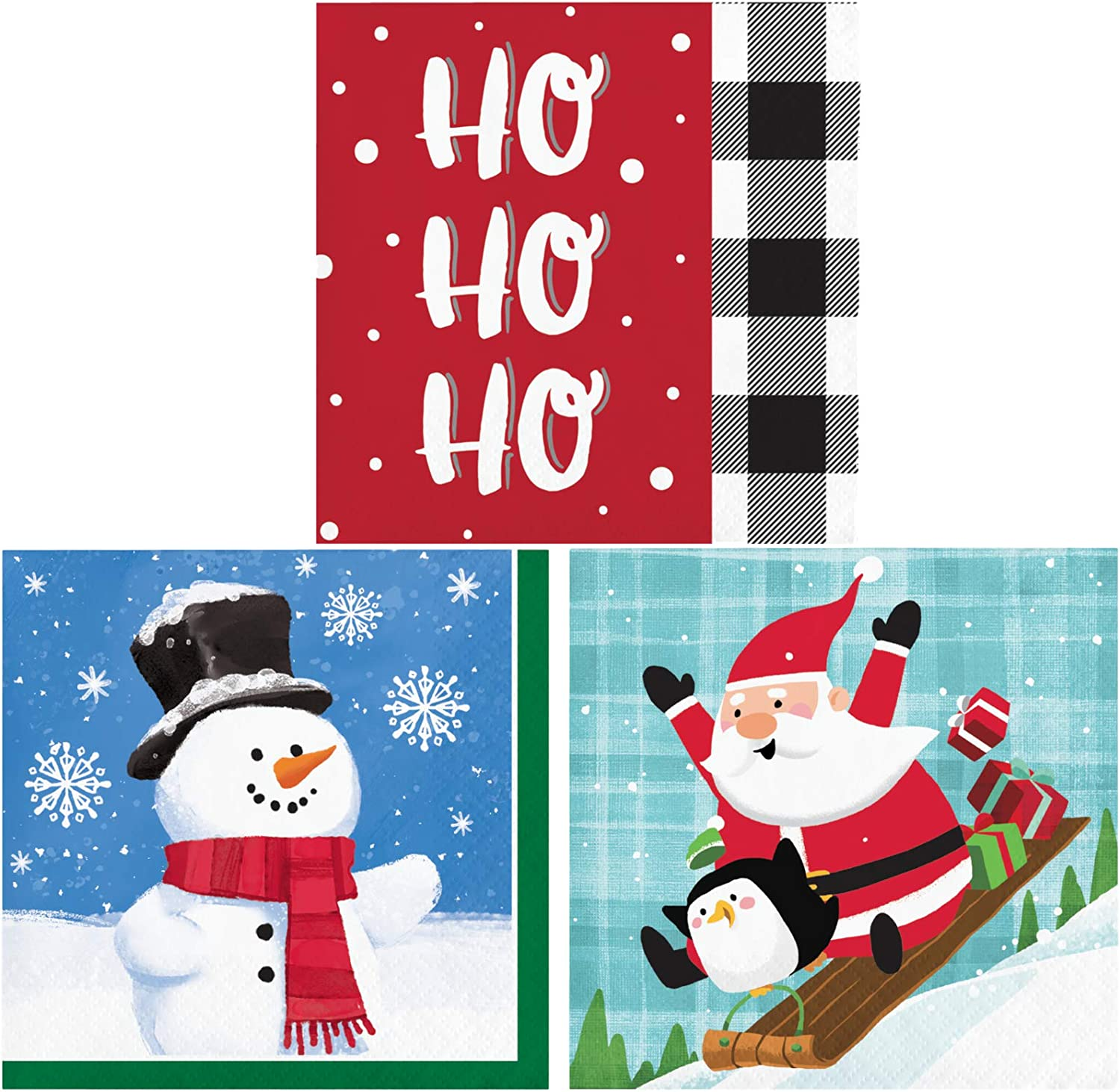 Christmas Beverage Napkins Variety Pack | Bundle Includes 48 Beverage Napkins in 3 Different Fun Holiday Designs | Santa Snowman Ho Ho Ho