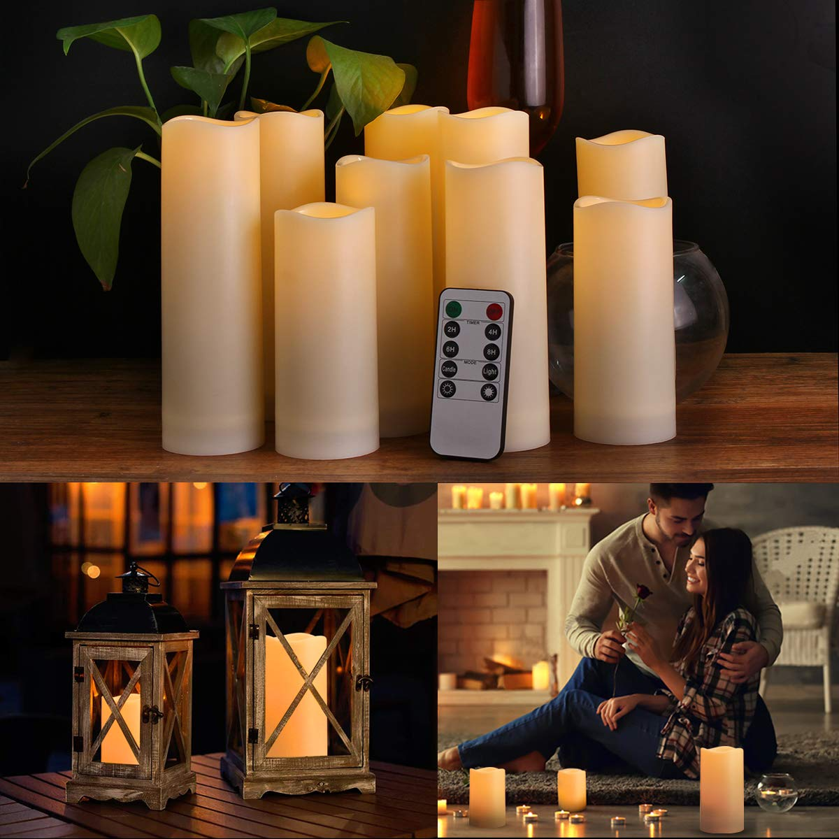 Flameless Candles, Waterproof Outdoor Candles set of 9 ( D 2.2'' X H 5''5''6''6''6''7''7''7''7'' ) LED Candles Battery Operated Candles with Remote Timer, Ivory White by Enido (Image #4)