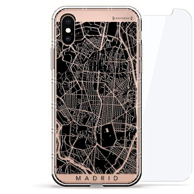 MAPS: Madrid Streets Map | Luxendary Air Series 360 Bundle: Clear Silicone Case with