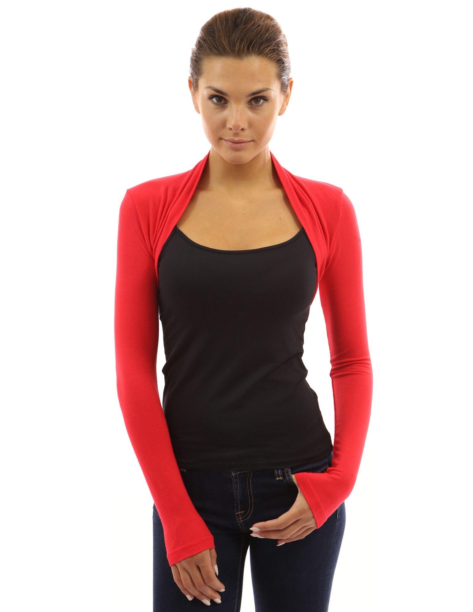 PattyBoutik Women's Long Sleeve Bolero Shrug (Chili S)