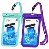 Mpow Waterproof Case, IPX 8 Waterproof Cell Phone Case for Kayaking, Snorkeling, Boating, Surfing, Swimming Universal Waterproof Pouch for iPhone7/7+/6/6+, Samsung Google Pixel, HTC, LG, Huawei, Sony, Nokia (2-Pack) Green&Purple
