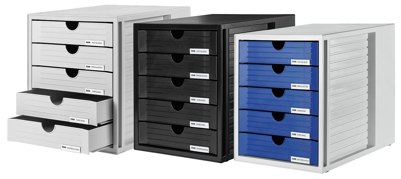 Han - Cajonera de oficina (5 cajones con etiquetas, tamaño C4, 275 x 320 x 330 mm), color gris claro y azul: Amazon.es: Oficina y papelería