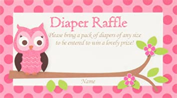 Pink Owl Printed Diaper Raffle Tickets Baby Shower Games (50 Cards)
