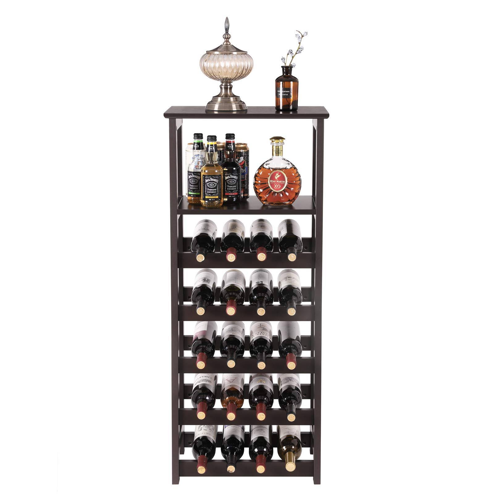 VASAGLE 20 Wooden Wine Rack, Free Standing Bottles Display Storage Shelf, with 2 Slatted Shelves,18.4''L × 10.4''W × 42.9''H, Espresso ULWR03BR by VASAGLE (Image #1)