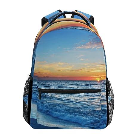 COOSUN Mochila Mochila Escolar bolsa de viaje ocasional azul agua de mar Multicolor