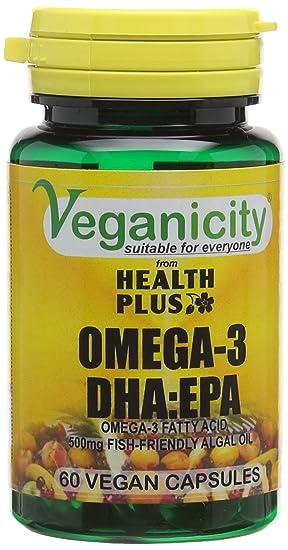 Image result for Veganicity Omega-3 Dha:epa 500mg - Algal Oil Vegan Omega-3 Fatty Acid : Heart And Brain Health Supplement : 60 Vcaps