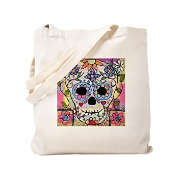 50aaf0f553c7 Amazon.com  CafePress - Mexican Flower Skull - Natural Canvas Tote ...