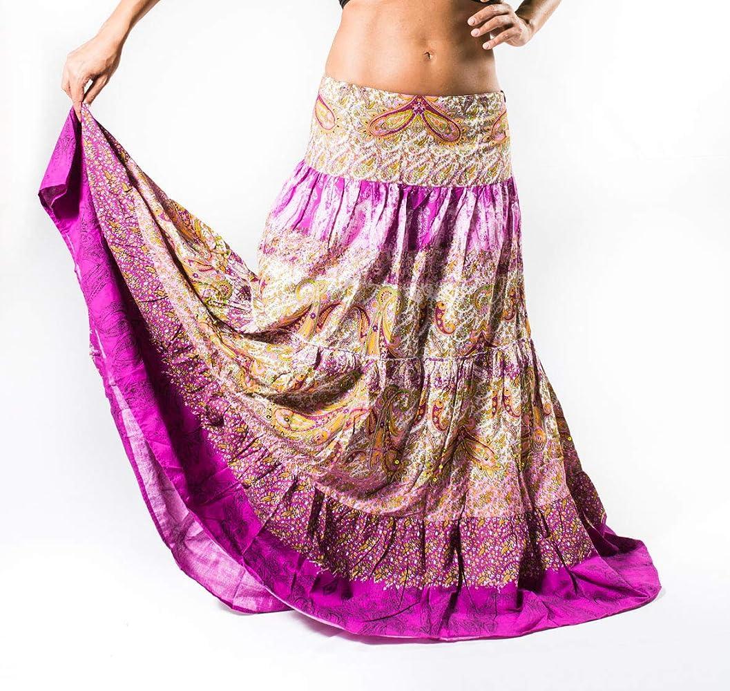 Anuka Falda Estampada de la India con Pedreria Cosida en el Cuerpo ...