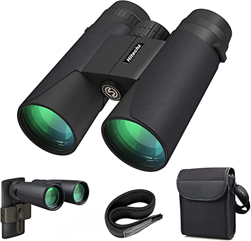 Hitechz 12×42 Binoculars for Adults, Compact HD Professional Waterproof Binoculars for Bird Watching Travel Stargazing Hunting Concerts Sports-BAK4 Prism FMC Lens with Phone Mount Carrying Bag