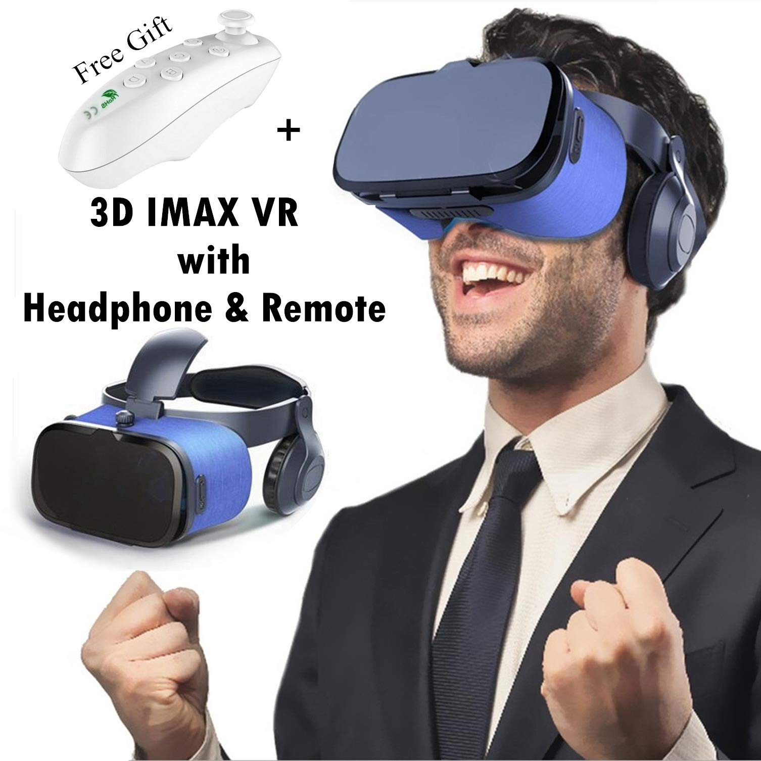 3D Virtual Reality Headset for Kid & Adult, Tsanglight 2018 New VR Goggle w/Headphone & Remote for 3D Movie/Game, VR Glasses Fit for iOS iPhone XR X 8 7 6 S Plus Android Samsung Galaxy S9 S8 S7 Edge