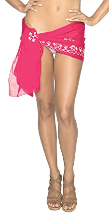 6d3feebd4c LA LEELA 100% Super Soft Cotton Designer Swim Beach Wrap Sarong Valentine  Pink: *LA LEELA: Amazon.co.uk: Clothing