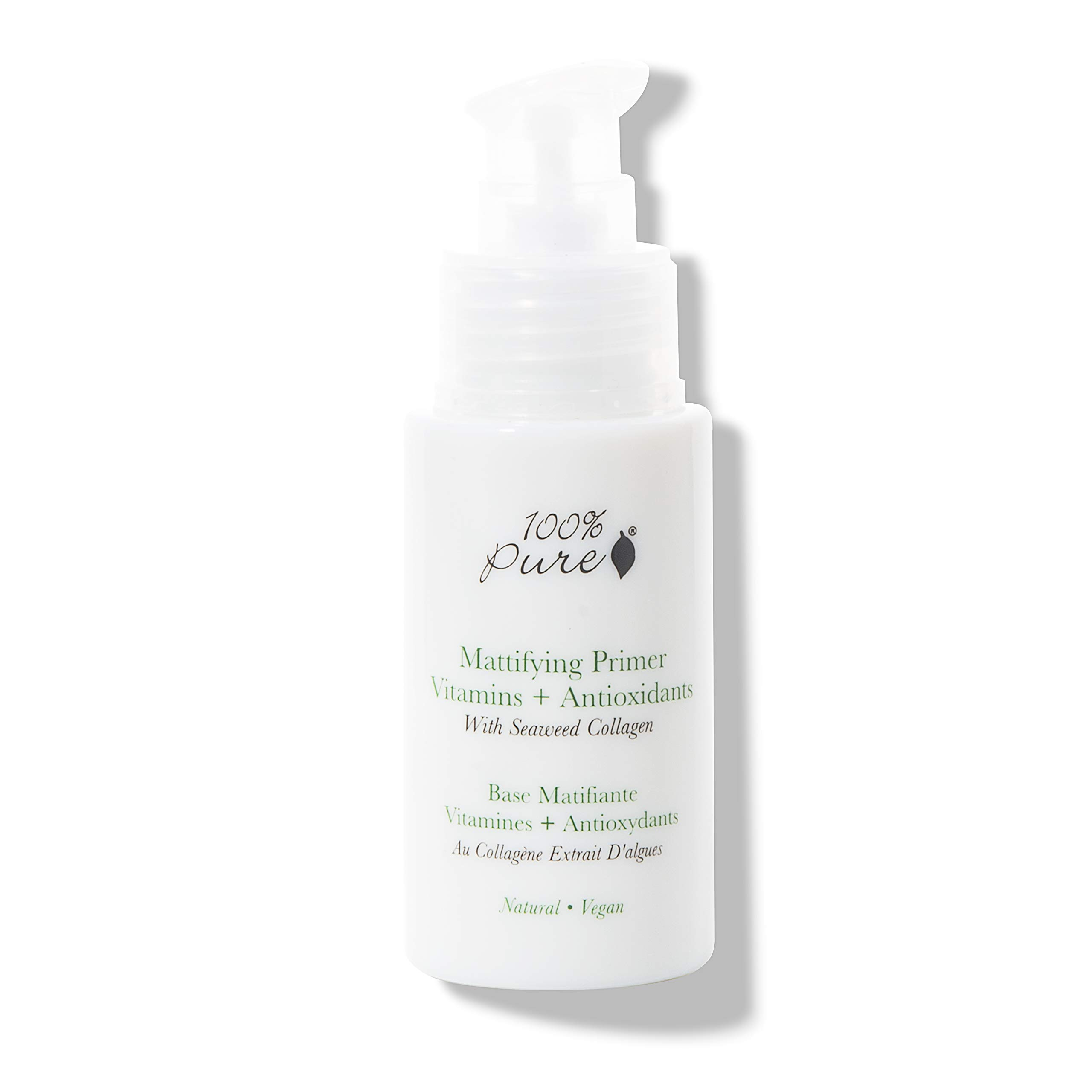 100% PURE Mattifying Primer, 1 oz, Silicone-Free Makeup Primer, Oil-Free, Shine-Free, For Flawless, Long-Lasting Foundation, Poreless Finish, Face Primer that hydrates and brightens