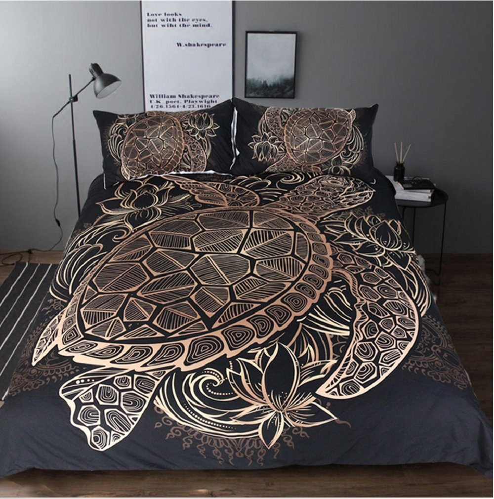 Duvet Cover Bedding 3pcs Luxury Set Printed Microfiber Golden Sea Tortoise Lotus California King Queen Twin Full Hotel Home Decor (King)