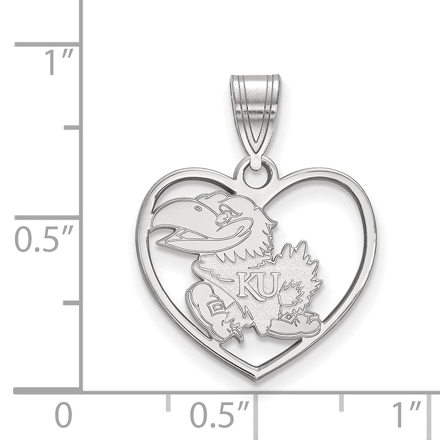 925 Sterling Silver Rhodium-plated Laser-cut University of Kansas Heart Pendant