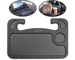 lebogner Auto Steering Wheel Desk, Laptop, Tablet, iPad Or Notebook Car Travel Table, Food Eating Hook On Steering Wheel Tray